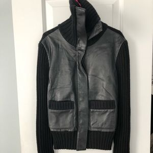 BCBG Leather Sweater Jacket XS